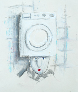 Queen with a washing machine on her head
